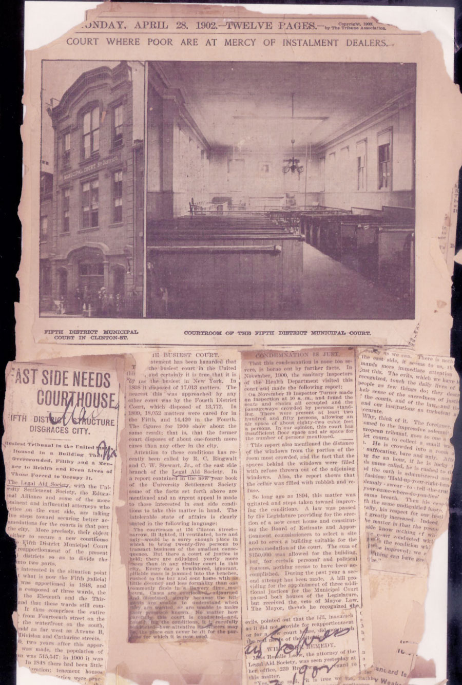 Articles in the Tribune about the Eastside Courthouse