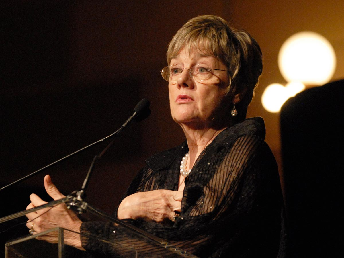 Patricia Hynes speaks at an event